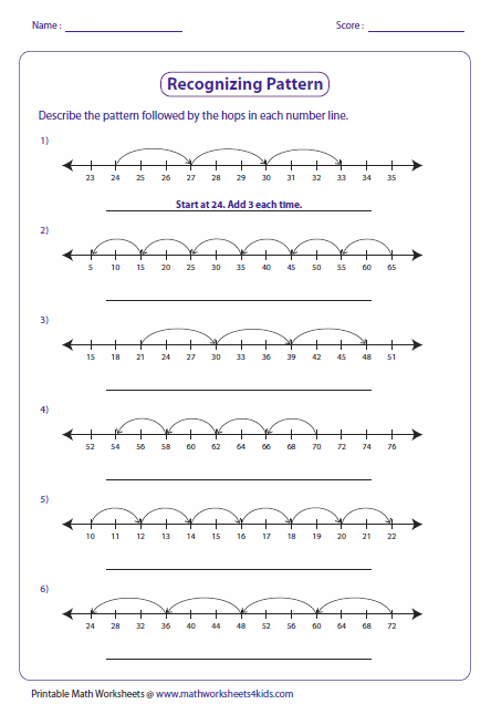 pattern worksheets recognizing pattern number lines