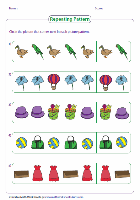 Printables Pattern Worksheets pattern worksheets repeating circle the next