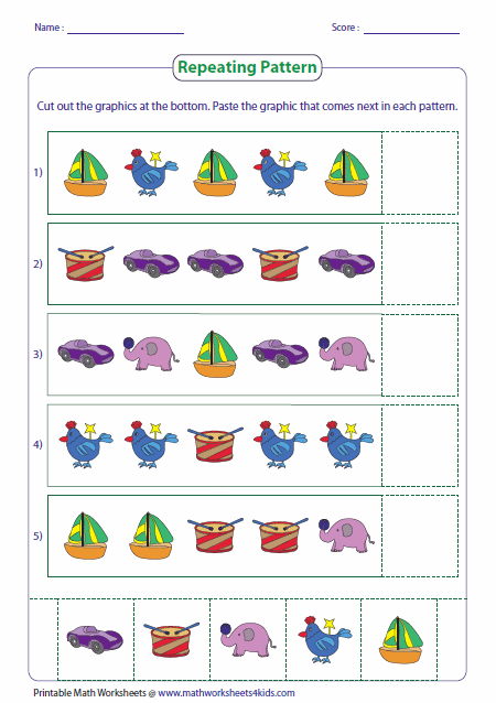 Printables Math Patterns Worksheets pattern worksheets repeating cut paste