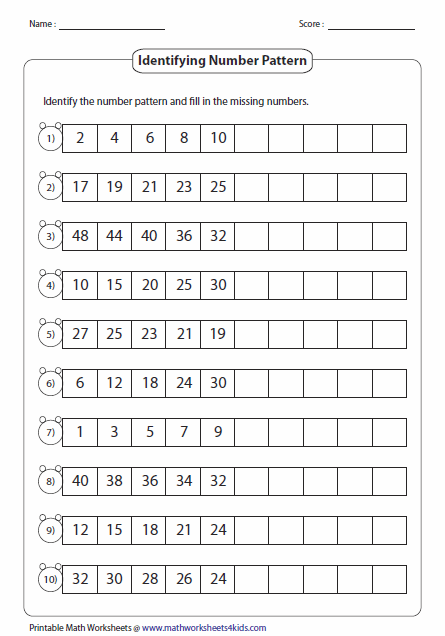 Printables Math Patterns Worksheets pattern worksheets standard number pattern