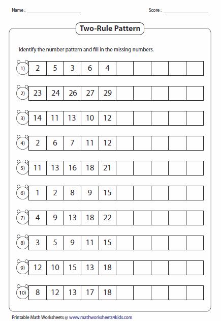 Printables Number Sequence Worksheets pattern worksheets two rule type 1
