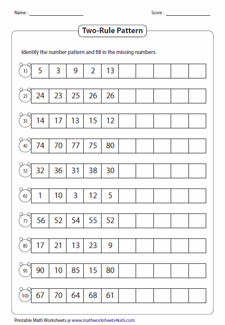 Printables Number Sequence Worksheets pattern worksheets two rule type 2