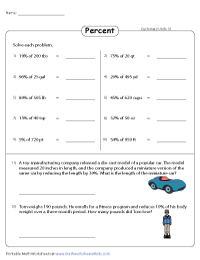 Percent Worksheets