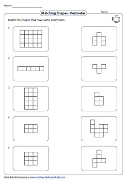 Match shapes with the same Perimeter