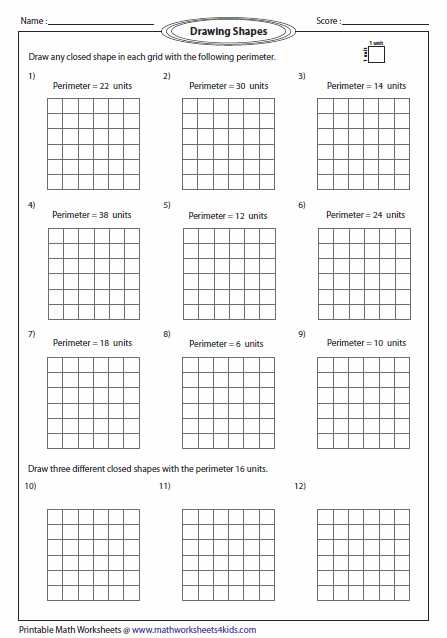 ... perimeter worksheets drawing shapes math area area perimeter math