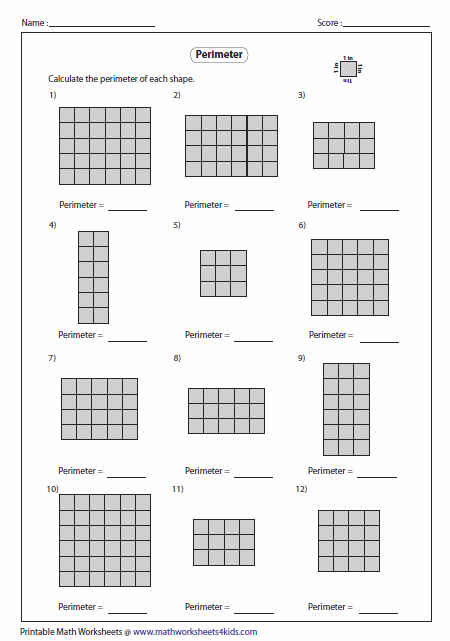 Printables Perimeter Worksheets perimeter worksheets counting grid easy level