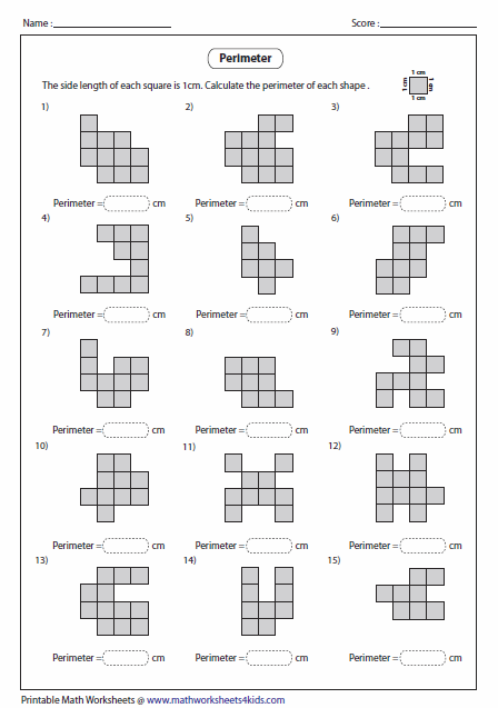 Printables Perimeter Worksheets 4th Grade perimeter worksheets counting squares