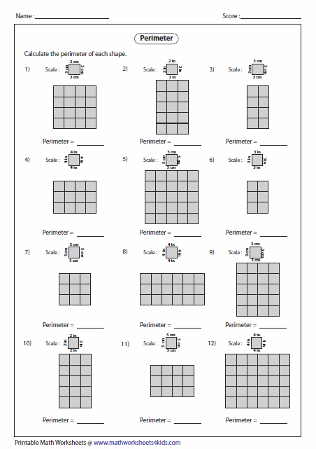 Printables Perimeter Worksheets For 3rd Grade perimeter worksheets counting grids medium level