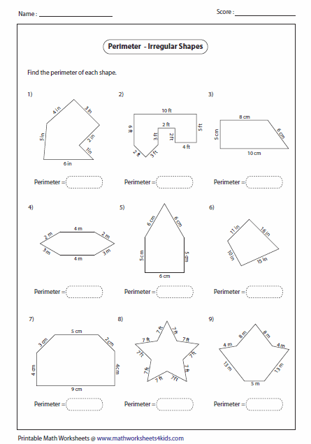 Area of shapes worksheet 6th grade