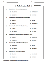 Decimal Place Value Worksheets Descending Order Worksheets Underline The Digit Up To Millionths