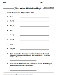 Decimal Place Value Worksheets Print Decimal Place Value Worksheets Identify The Place Value Up To Thousandths