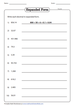 expanded form using decimals  Standard and Expanded Form | Decimal Place Value Worksheets