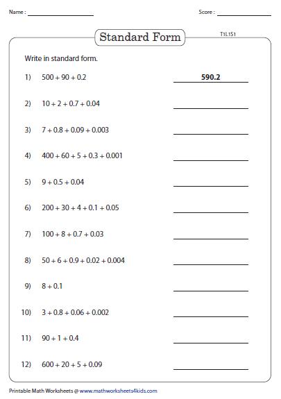 decimals expanded form worksheets  gungozqeyeco standard and expanded form decimal place value worksheets