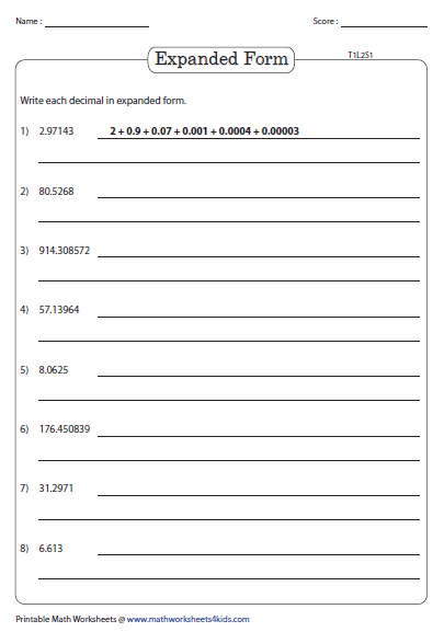 Standard And Expanded Form Decimal Place Value Worksheets