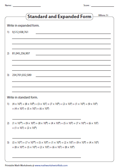 Standard And Expanded Exponential Form Place Value Worksheets