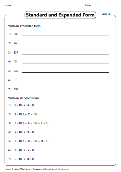 Standard And Expanded Product Form Place Value Worksheets