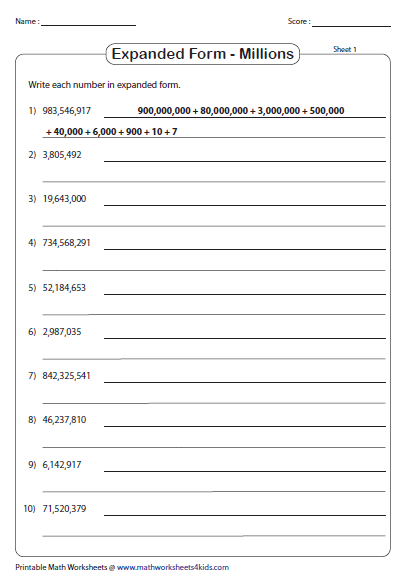 Standard And Expanded Form Place Value Worksheets