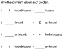Equivalent Place Values