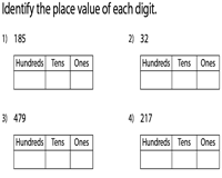 Ones Tens Hundreds | Units Place Value Worksheets