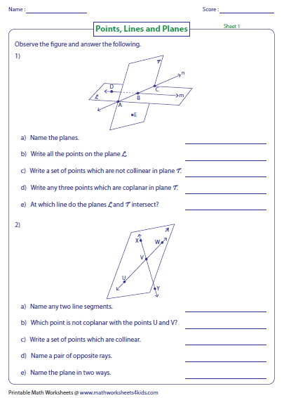 Line Segments Lines And Rays Worksheets