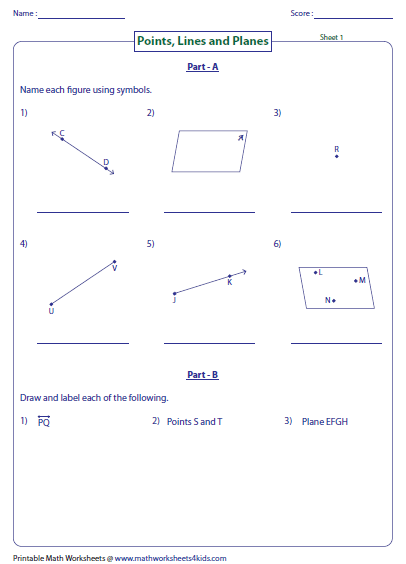 Number Names Worksheets geometry 1 worksheets : Geometry 1 Points Lines And Planes Worksheets - Intrepidpath