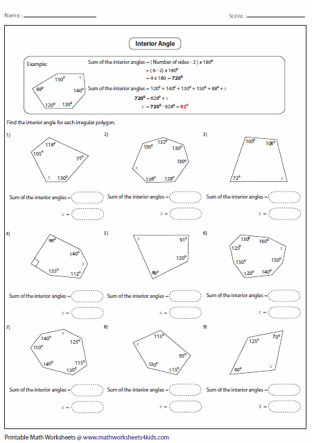 Worksheets Sum Of Interior Angles Worksheet polygon worksheets interior angle of irregular polygon