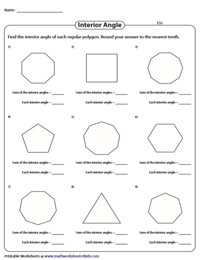Interior Angles, Exterior Angles and the Sum Polygon Worksheets