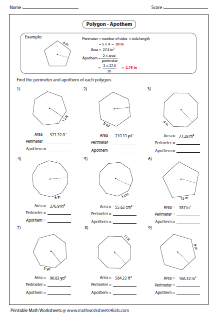area of regular polygons worksheet