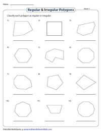 Types Of Polygons Worksheets Classify And Name The Polygons
