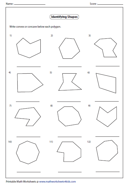 Worksheets Identifying Polygons Worksheet polygon worksheets identify concave or convex polygon