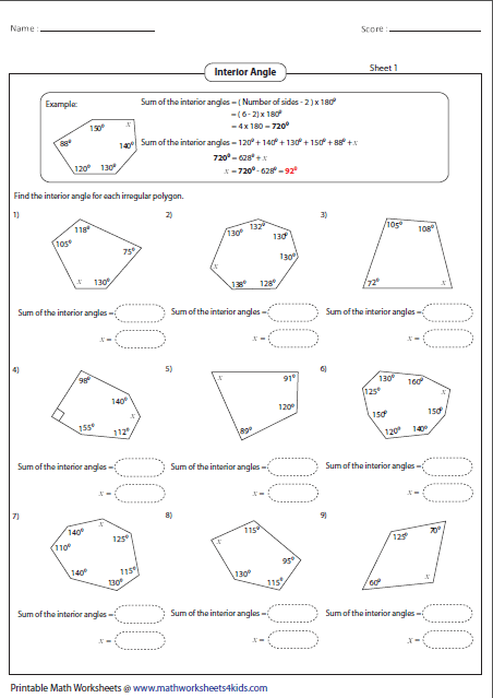 Polygon worksheets - Sum of exterior angles of polygon ...