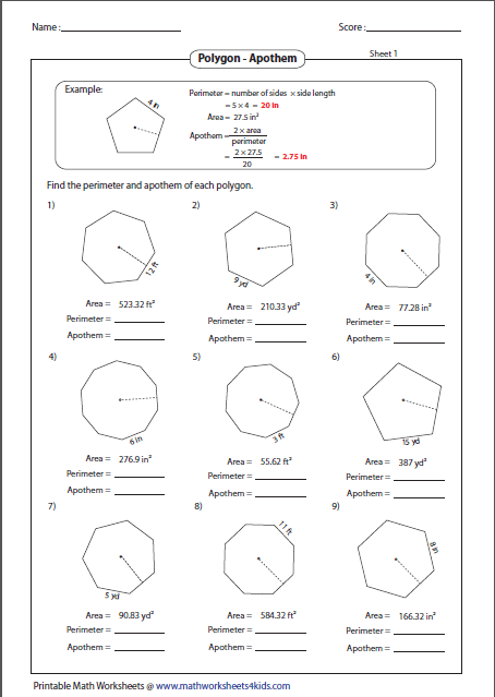 Area of polygons worksheet