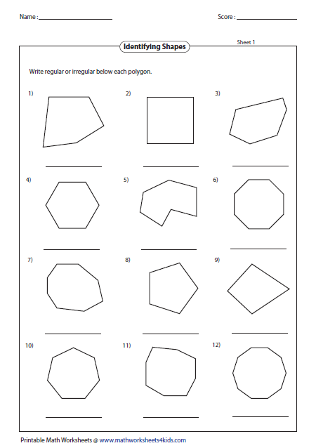 Classifying polygons worksheet doc