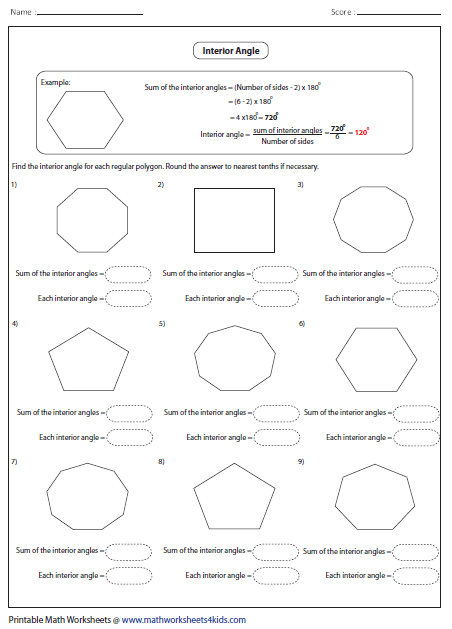 Worksheets Sum Of Interior Angles Worksheet polygon worksheets interior angle of regular polygon