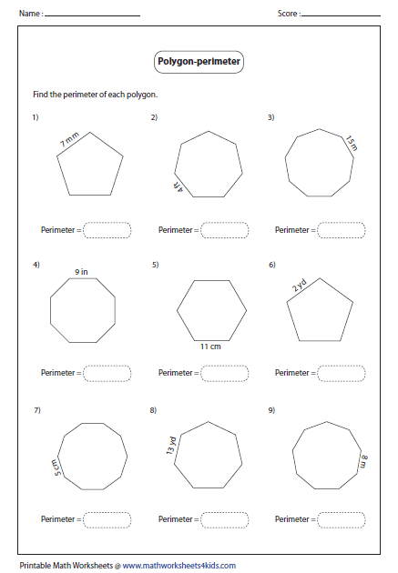 Regular Polygons Area Perimeter Worksheets