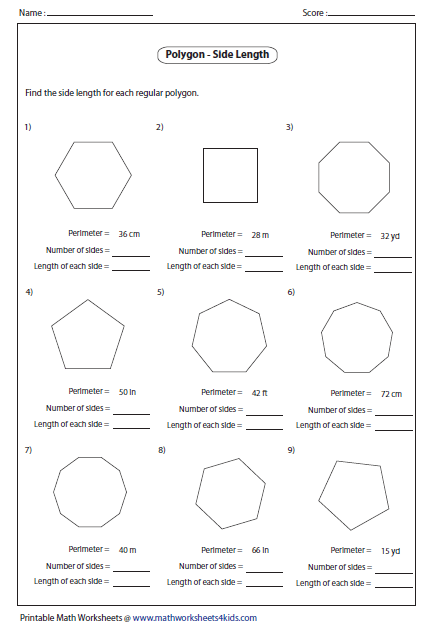 Printables Polygons Worksheet polygon worksheets side length of polygon