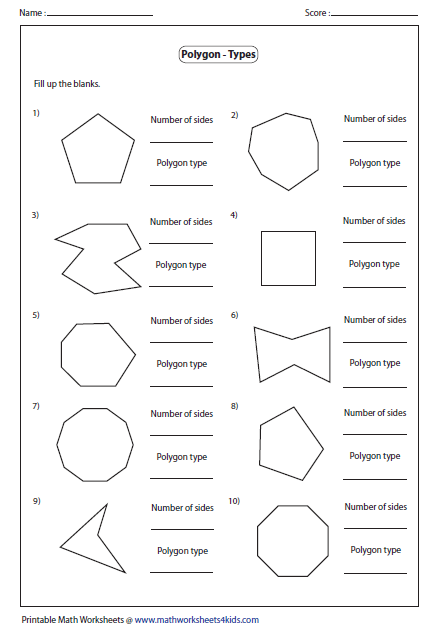 Printables Polygons Worksheet polygon worksheets name the type of polygon