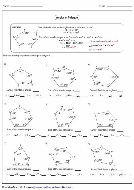 Printables Interior And Exterior Angles Worksheet polygon worksheets unknown angles