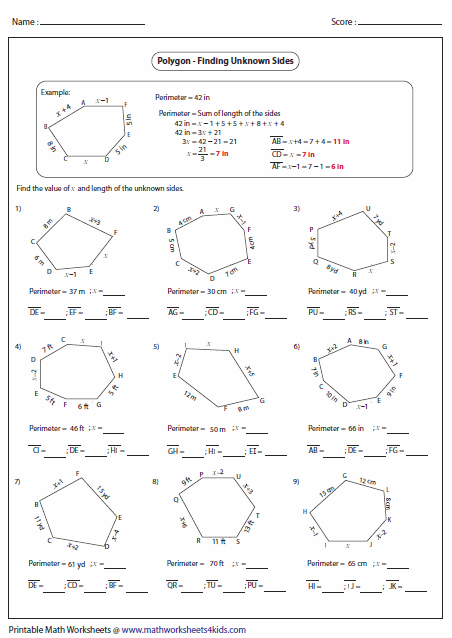Worksheets Perimeter Of Polygons Worksheet polygon worksheets finding unknown sides