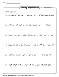 multivariable three addend - Adding Polynomials Worksheet