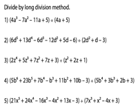 Dividing Polynomials Worksheets