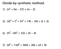 Dividing polynomials | Synthetic division method