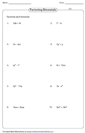 Factoring Polynomial Worksheets