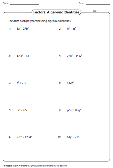 Quadratic Factoring Algebra 2 Worksheet Printable