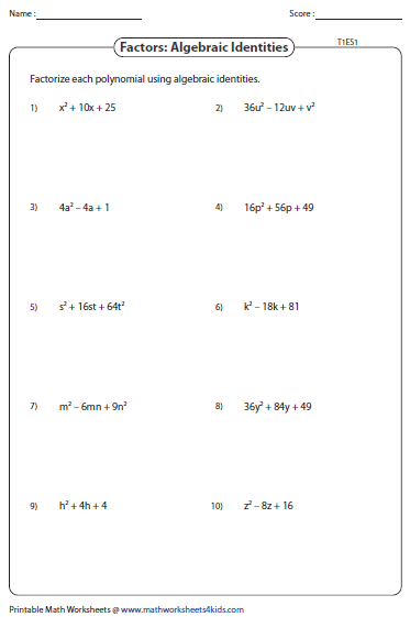 Printables Factoring Trinomials Worksheet factoring polynomial worksheets