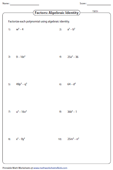 Algebra factoring worksheet generator