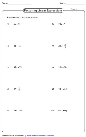 Worksheets Factoring Monomials Worksheet factoring polynomial worksheets