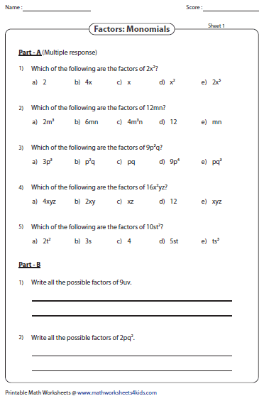 Algebra 1 Worksheets. Factor the Variables.
