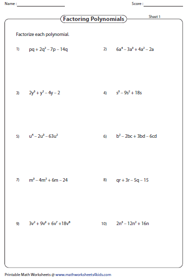 Printables Factorization Worksheets factoring polynomial worksheets polynomials