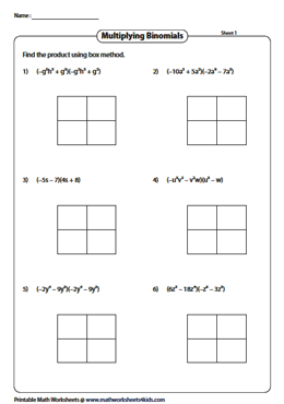 box method worksheets to multiply polynomials